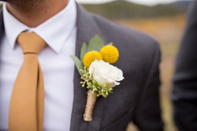 F Organic Boutonniere   Yellow and White