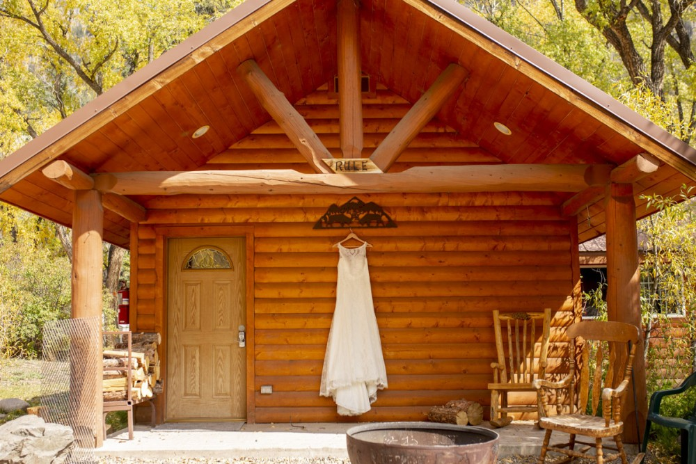 01 Wedding Dress at the cabin in Blue Creek Lodge
