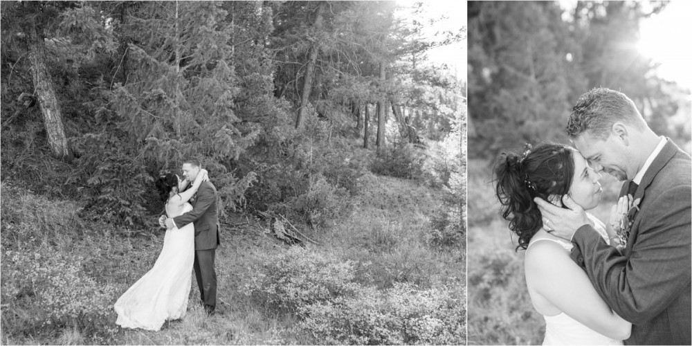 12 Bride   Groom sun drenched pines   Black White